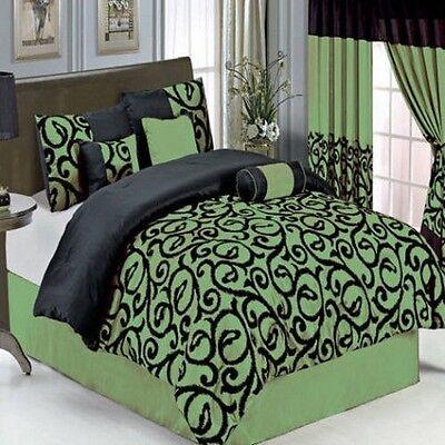 Royal Tradition Candice 7-pc Sage Bedding Set, 100% Micro...