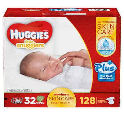 Huggies Little Snugglers Plus 128 ct Diapers New Born Skin Care Essentials Kit
