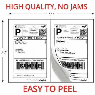 500 Shipping Labels Half Sheet 2 Per Sheet 8.5 X 11 Self Adhesive