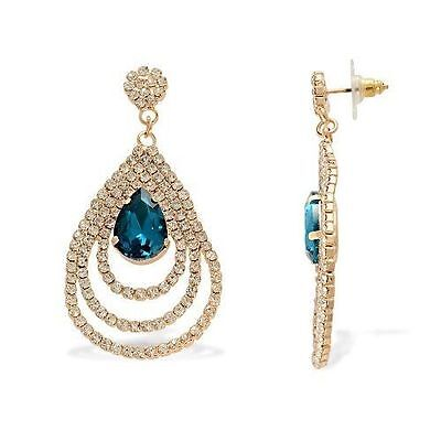 Blue Simulated Sapphire/White Austrian Crystal Dangle Earrings in Goldtone Simulate Austrian Crystal