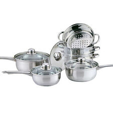 6PC COOKWARE + STEAMER SET STAINLESS STEEL SAUCEPAN PAN POT KITCHEN COOK SAUCE