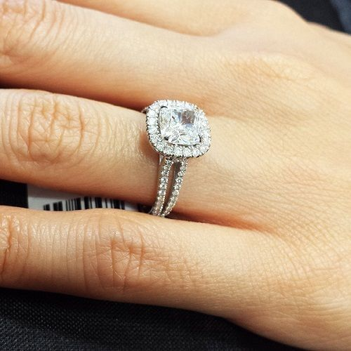 1.70ctw Natural Cushion Cut Halo Split Shank Diamond Engagement Ring - GIA Cert 1
