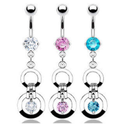 Double Circle CZ Gem Dangle Belly Ring Navel Naval Clear, Pink, Aqua Clear Gem Dangle Belly Ring