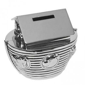 SILVER PLATED MONEY BOX CHRISTENING GIFT BIRTH PRESENT