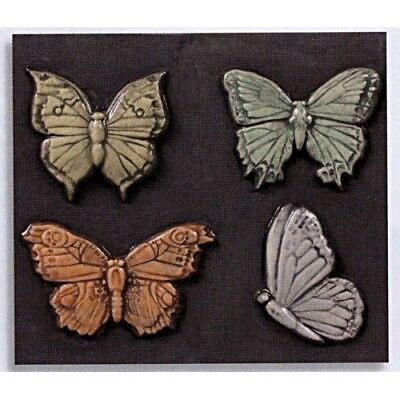 4 BUTTERFLIES MAGNETS CERAMIC BISQUE  READY TO PAINT