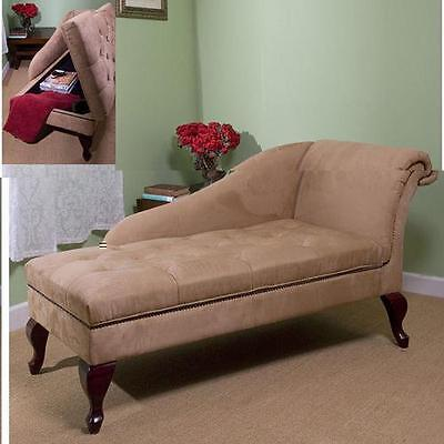 Tan Chaise Lounge with Storage Sofa Couch Home Furniture Modern Decor Seat
