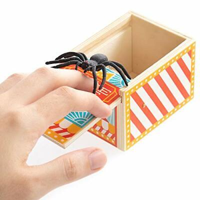 Wooden Spider Prank Box - Scary Surprise Halloween Party Favor - Fake Jumping