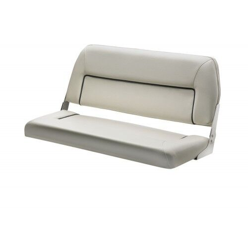 Boat Seat Bench Seat Deluxe Folding Seat 2 Person Marine White Blue Trim Ebay