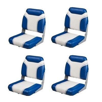4 Blue Folding Boat Seats Marine Vinyl Boating Seat Fishing Pontoon Bass Boats