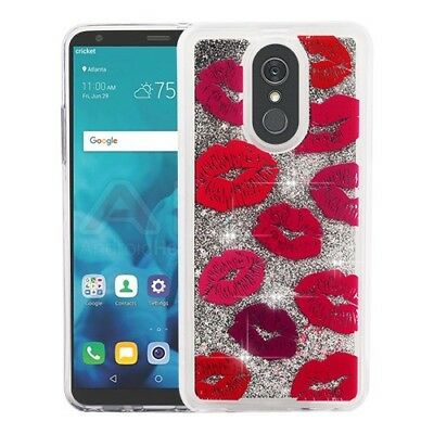 Blissful Kisses & Silver Quicksand Glitter Cover LG Stylo 4 LG Stylo 4 Plus