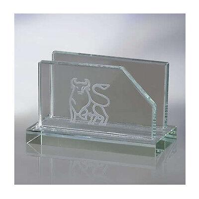 Engraved Glass Business Card Holder For Desk Office
