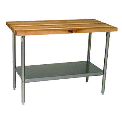 John Boos Sns11 Wood Top Work Table Stainless Undershelf 96w X 30d