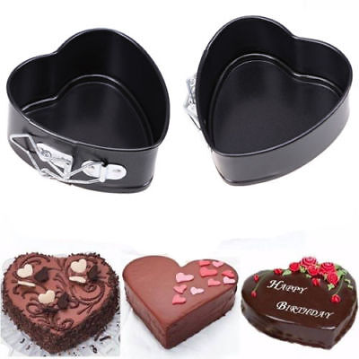 Non Stick Heart Shape Mold Spring Form Cake Oven Tray Baking Pan Bakeware Mould