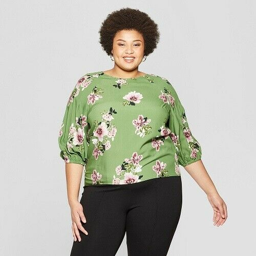 Women's Plus Size Floral Print 3/4 Sleeve Pleated Blouse – Ava & Viv Green 4X Clothing, Shoes & Accessories