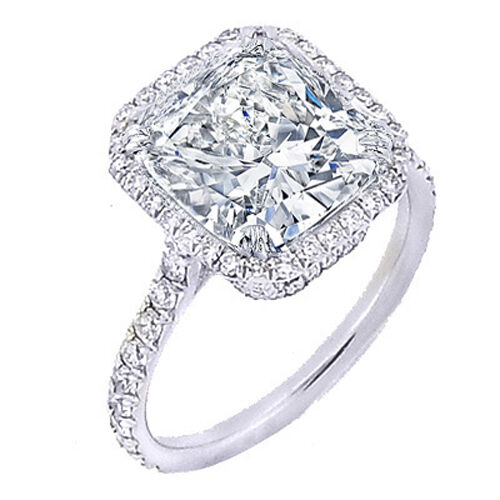 1.90 Ct. Halo Cushion Cut Diamond U-Setting Engagement Ring D,VS1 GIA 14K WG