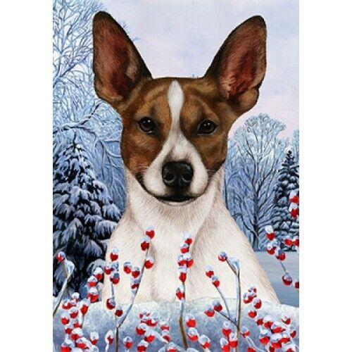 Winter Garden Flag - Brown and White Rat Terrier 151301