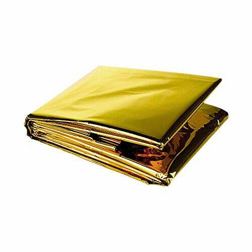 Emergency Mylar Thermal Blanket, Foil Rescue Survival Blanket - GOLD