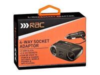 RAC 4 - WAY SOCKET ADAPTOR - 2 USB SLOTS / 2 12V SOCKETS
