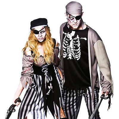 Zombie Pirate + Eyepatch Adults Fancy Dress Halloween Horror Costume Outfit New](Pirate Outfits For Men)