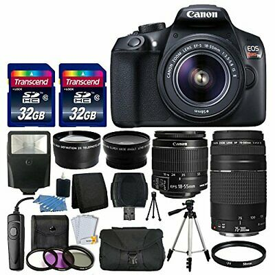 Canon EOS Rebel T6 / 1300D DSLR Camera + 18-55mm IS + 75-300mm Lens 64GB Top Kit