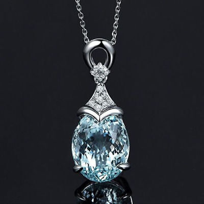 Ocean Blue Water Drop Topaz 925 Sterling Silver Necklace (Pendant + Chain) - Blue Necklaces