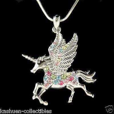 ~Rainbow Pegasus made with Swarovski Crystal UNICORN Fairy Necklace Xmas Jewelry