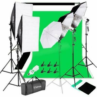 Photo Studio Photography Lighting Kit Umbrella Softbox Backdrop Stand Set Lighting Photography Kit