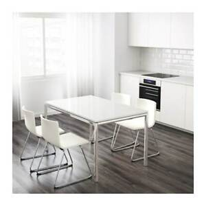 Moving Sale- Ikea Torsby Table and 4 Blue Tobias Chairs