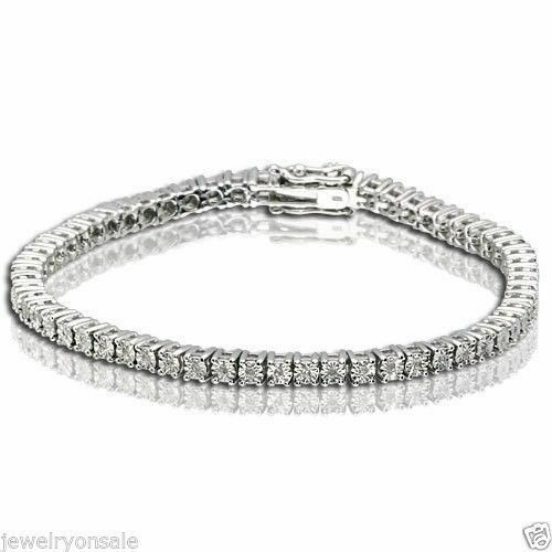 1 Row Genuine Natural Round Diamond Tennis Bracelet in 7 Inch