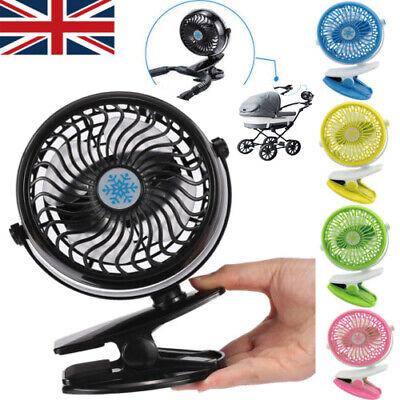 360° Portable Travel Fan Rechargeable USB Clip On Mini Desk Pram Cot Car Fan UK