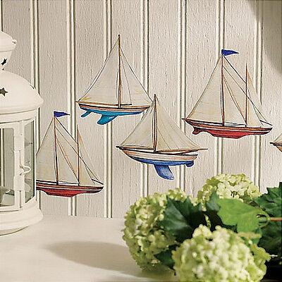 Ocean Room Decor (WALLIES SAILBOATS wall stickers 12 decals nautical room decor sea ocean)