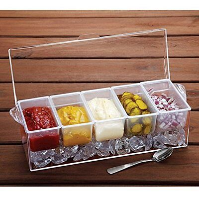 Chilled Ice Condiment Server w/ Cover Caddy 5 Removable Containers Serving tray