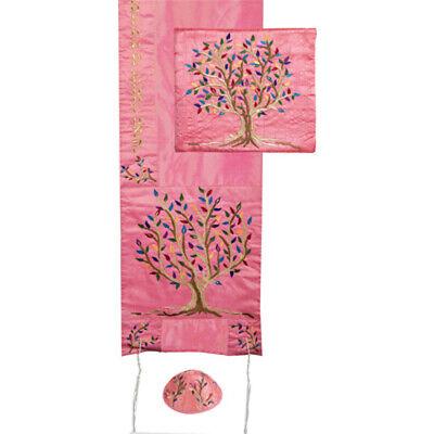 Tree of Life Embroidered Pink Tallit Prayer Shawl Set + Matching Bag + Kippah