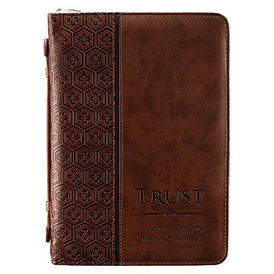 """NEW """"Trust"""" Brown Tile Design Bible / Book Cover  Proverbs 3:5 Medium SHIPS FREE"""