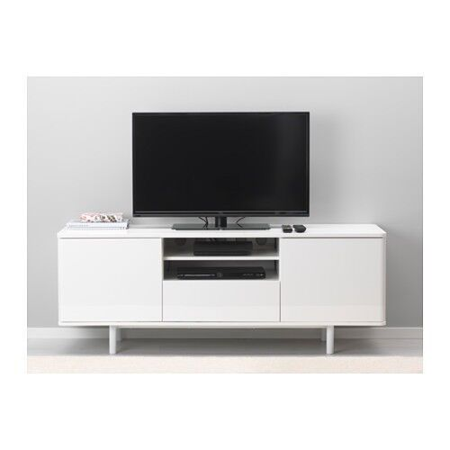 IKEA WHITE GLOSS TV BENCH - MOSTORP
