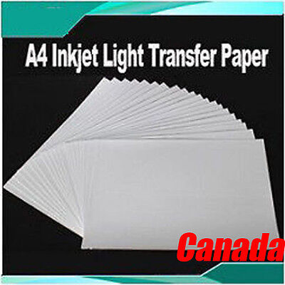 20 Sheets A4 Inkjet Light Transfer Paper For Diy T-shirt Heat Press Printing