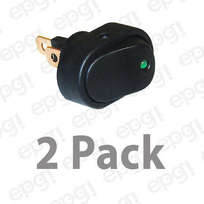 Spst Onoff Led Illuminated Rocker Switch Green 20a - 12vdc Rsgdlx-2pk