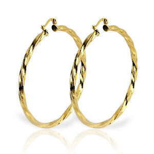 18K YELLOW GOLD FILLED HOOP EARRINGS 2 1/2