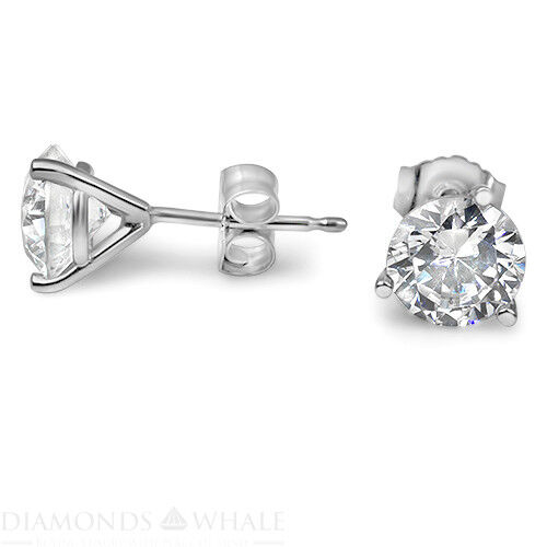 2 Ct Enhanced Diamond Stud Wedding Earrings, Round Cut, Vs2/f 18k White Gold Dm