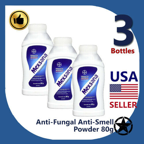 3 Bottles 2020 Mexsana Talco Anti-Fungal and Anti-Smell Powder - 80g - Pies