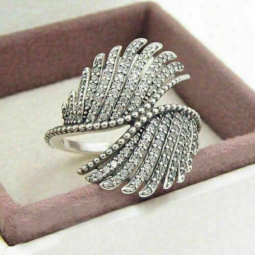 4.1 Ct Diamond Beautiful Wings Style Anniversary & Wedding Ring 14K White Gold