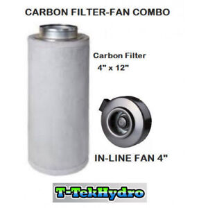 "TTHydroponic: In-Line Fan 4"" and Carbon Filter 4""x12"" Combo"