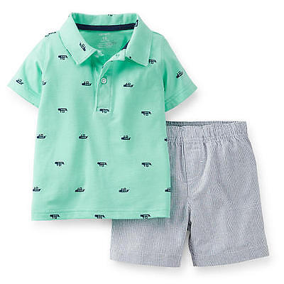 Carters Baby Shirt (NEW Carters Baby Boys 2 Pc Blue Striped Short & Boat Polo Shirt Set -Choice)