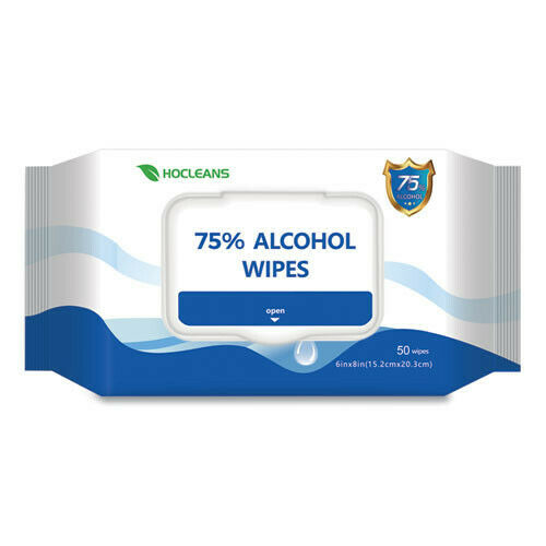 """GN1 SA05024PK 50-Wipes/Pack 6"""" x 8"""" Personal Ethyl Alcohol Wipes White New"""