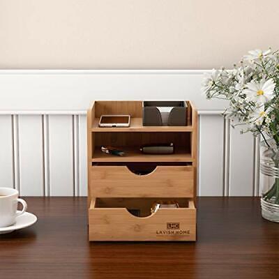 Wooden Bamboo Desk Top Organizer 2 Drawers Shelf Desktop Office Home Decor