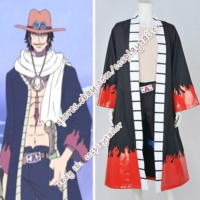 One Piece Portgas D. Ace Cosplay Costume Anime Outfit Full Set Halloween - Ace Halloween Costumes