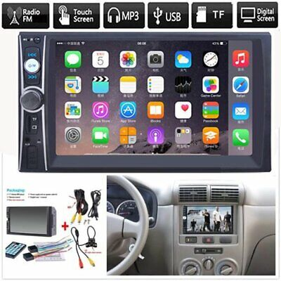 """2 DIN 7"""" HD Car Stereo FM Radio MP5 Player Bluetooth Touch Screen+Rear Camera US"""