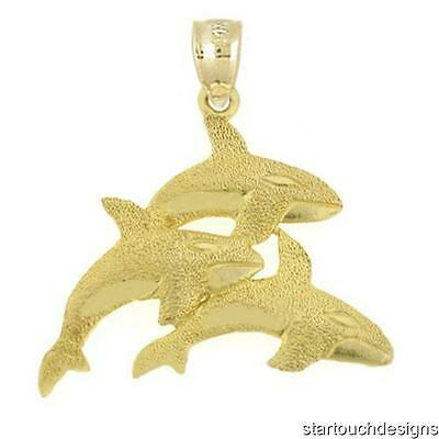 New 14k Yellow Gold Orca Whale Pendant ()