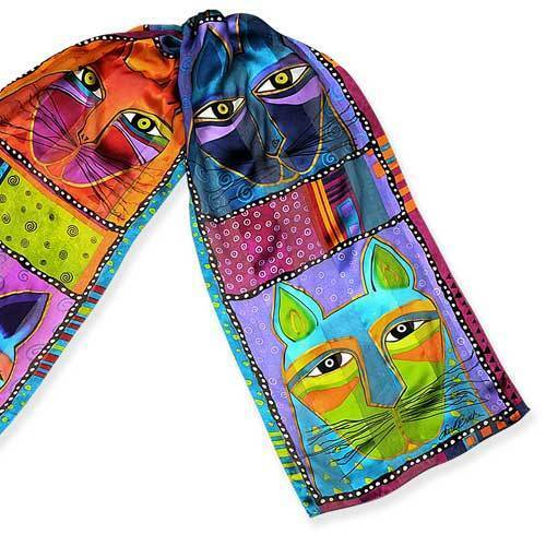 LAUREL BURCH 100% Pure Silk SCARF Wrap Throw WHISKERED CATS Purple Blue Green