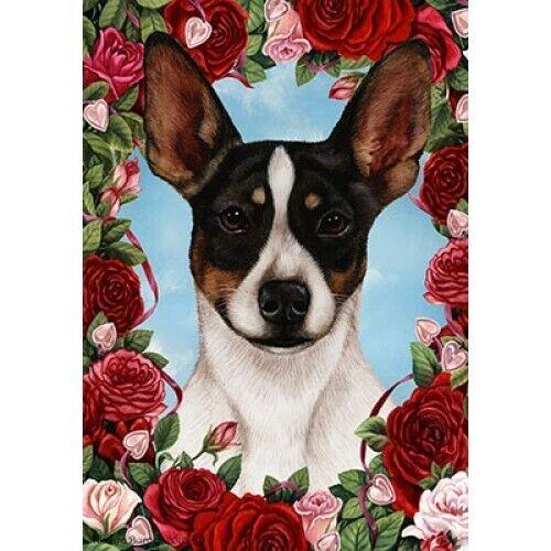 Roses Garden Flag - Tri Rat Terrier 193241